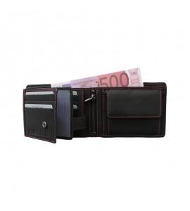Geldbörse Leder schwarz/rot